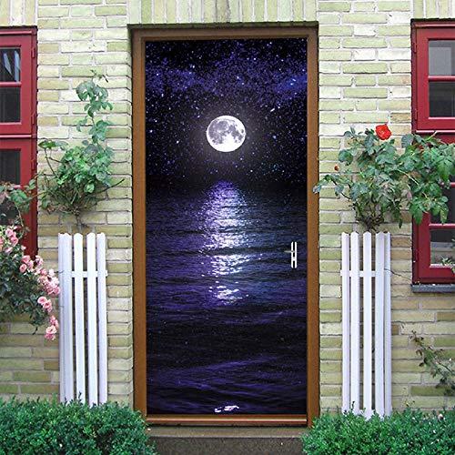 Autocollant De Porte 3D Autocollant De Porte Hd Maritime Bright Moon 3D Pvc Auto-Adhésif Papier Peint Bricolage Décoration De La Maison Porte Autocollant 77 * 200 Cm