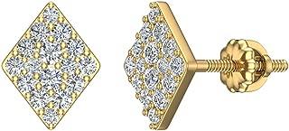 Diamond Earrings Diamond or Kite Motif Studs 14K Gold (1/2 ctw) (I,I1)