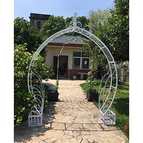 YICOL Round Garden Arch with Planters Moon Gate (230cm) Rose Archway Classical Style - for Climbing Vines and Plants, White