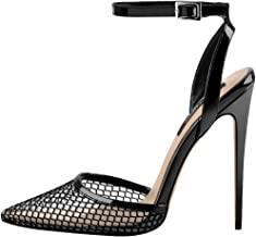 Onlymaker Women's Ankle Strap Mesh Clear Pointed Toe Slingback Stiletto Pumps Sandals