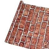 Timeet Carta da parati adesiva in 3D, con effetto mattoni, carta da parati vintage carta da parati adesiva muro pellicola in vinile 45 x 600 cm, colore: Rosso