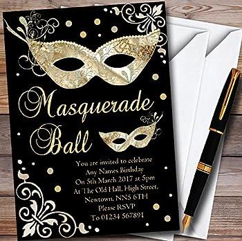 Gold & Black Masquerade Ball Personalized Party Invitations