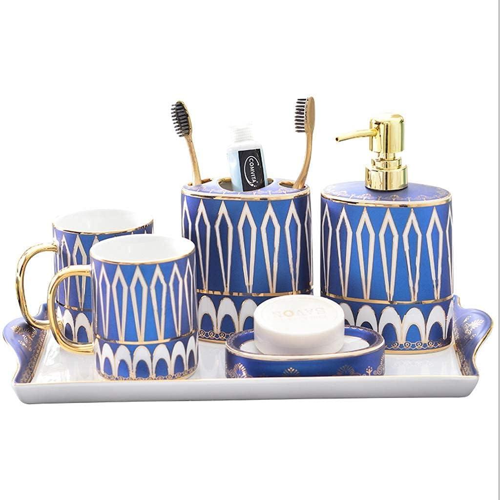 XBR Bathroom Accessories Ceramics Bathroom Accessories Set Soap Dispenser,Toothbrush Holder,Rinse Cup ,Soap Dish Tray Bathroom Products Bathroom Accessories Set (Color : Blue)