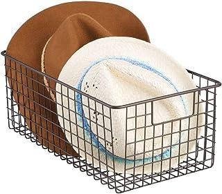 mDesign cesta metalica para los productos de limpieza de sus zapatos - Cesta organizadora provista de asas para un cómodo ...