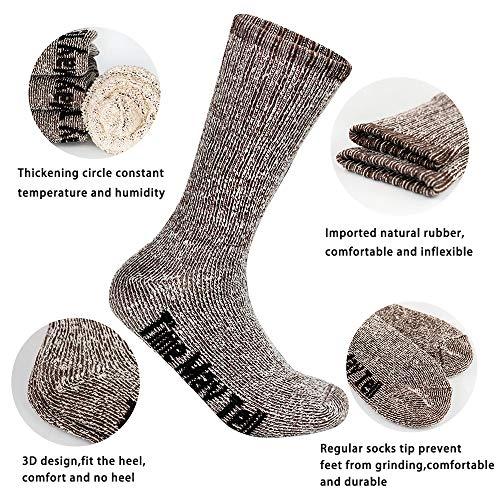 Time May Tell Mens Merino Wool Hiking Cushion Socks Pack (Brown(2 pairs), US Size 9~13)