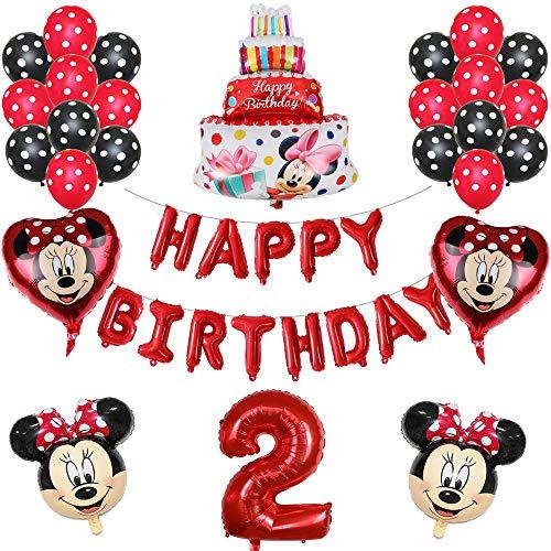ENXI Globos 1set Disney Minnie Mickey Mouse Party Globos Baby Shower Fiesta de cumpleaños Decoraciones para niños Globos Infantiles Boy Girls Supplies ( Color : Red2 )