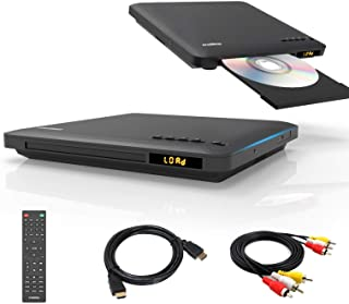 Slim Design DVD player for TV, Ultra-Thin Region Free DVD Player, Colourful HD Pixels with HDMI/ RCA Cable Included, USB I...