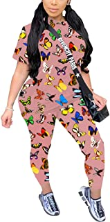 2 Piece Outfits for Women - Casual Butterfly Prints Two Pc Short Sleeve T Shirts Tops + Long Skinny Pants Set Tracksuits