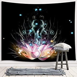 JAWO Pink Lotus Tapestry, Magic White Lotus Fantasy Flower Zen Meditation Yoga Upgrade Tapestries Wall Hanging for Bedroom College Dorm, TV Backdrop Table Cloth Profession Home Decor 71X60 Inches