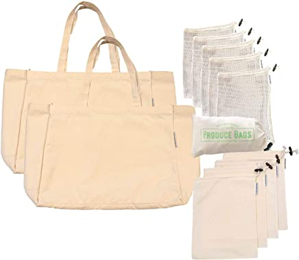 Smudge and Ko | Complete Market Shopping & Produce Bag Set | 12 Piece | Reusable Eco Friendly | Zero Waste Biodegradable | Premium Organic Cotton | Grocery, Shopping, Home