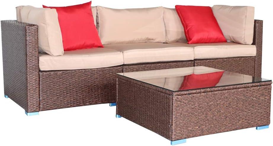 Wood Grain Patio PE Ranking TOP19 Wicker Rattan Sofa Pillow 2 Max 80% OFF Corner with Set