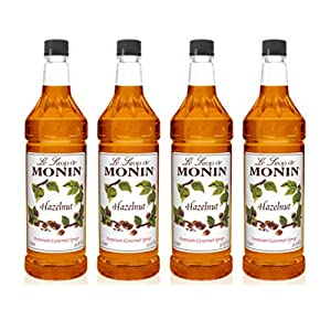 Monin - Hazelnut Syrup, Nutty Taste of Caramelized Hazelnut, Natural Flavors, Great for Mochas, Lattes, Smoothies, Shakes, and Cocktails, Non-GMO, Gluten-Free (1 Liter, 4-Pack)