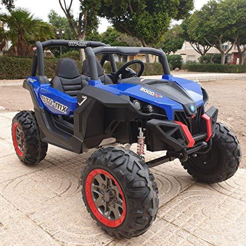 Indalchess Buggy BATERIA Infantil, 2 PLAZAS, 4 Motores, Azul, Pantalla mp4