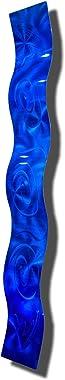 """Statements2000 Blue 3D Abstract Metal Wall Art Sculpture Wave - Modern Home Décor by Jon Allen - 46.5"""" x 6"""""""