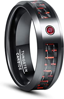 CHALAIR Black Men's Tungsten Ring 8mm Wedding Engagement Promise Anniversary Rings Band Blue/Green/Red Carbon Fiber and Zi...