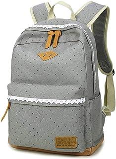 Mädchen Rucksack SKYIOL Daypack Alltagstasche Segeltuch Schulranzen mit Punkten Spitzen 7 Fächern Groß für 15,6 Zoll Laptop perfekt für Alltag Freizeit Schule Reise Grau