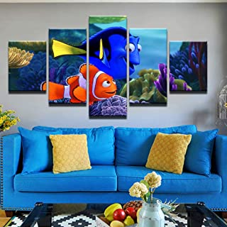 WLHWLH 5 Panel Water World Finding Nemo Home Wall Decor Painting Canvas Art HD Print Painting Canvas Wall Picture for Home Decor Framed