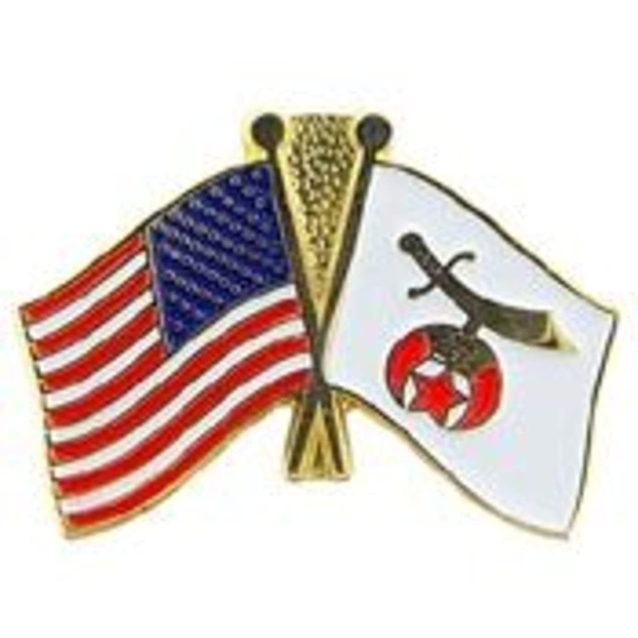 EagleEmblems P05711 PIN-ORG,Shriner/USA Flag (1'') roxzhvef670
