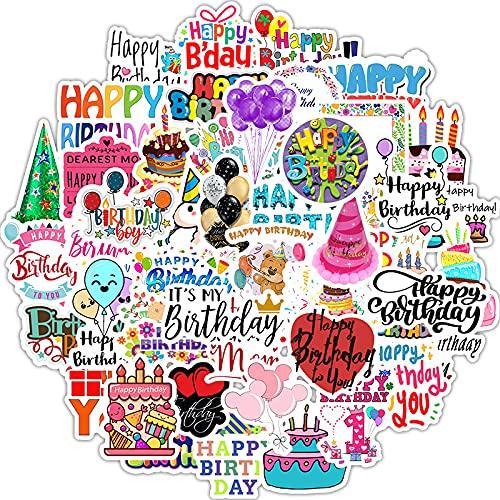 ZXXC 50 Piezas de Dibujos Animados Feliz cumpleaños Pastel Vela Impermeable Maleta teléfono Caso Coche decoración Pegatina Pintura
