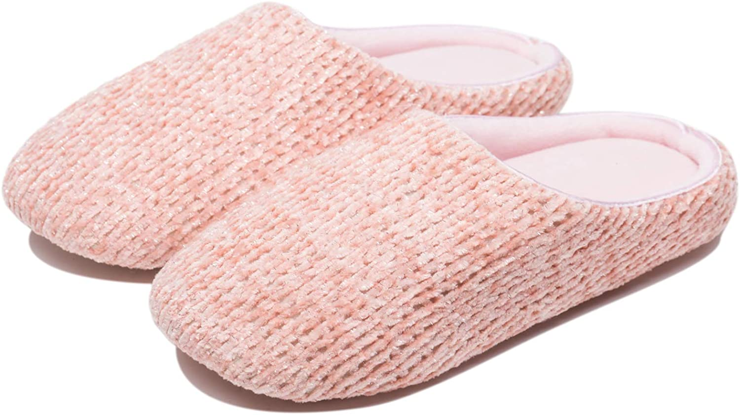 KENSBUY House Slippers for Women Soft Coral Fleece Upper Closed Toe Home shoes Indoor Slipper Pink
