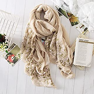 Winter Long Scarf Spring and Summer Female Literary National Wind Shawl Cotton and Linen Wild Long Sunscreen Scarf Dual-use Embroidery Linen Pattern (Color : Grey) Winter Soft Scarf (Color : Khaki)