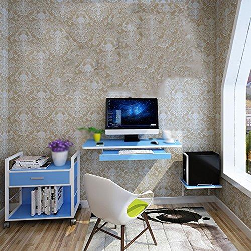 DEO Bureau d'ordinateur Mur Accrochant De Bureau D'ordinateur Approprié Au Petit Appartement Noir, Bleu, Brun, Blanc, Bois durable (Couleur : Bleu)