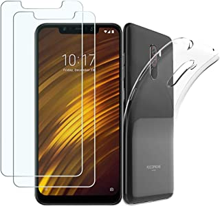 [3 in 1] PULEN Screen Protector for XiaomiPocoF1 2018,HD Clear Anti-Fingerprints Anti-Scratch 9H Tempered Glass(2 Packs) with TPU Case Cover [Ultra Clear] [Shock-Absorption] for XiaomiPocophoneF1