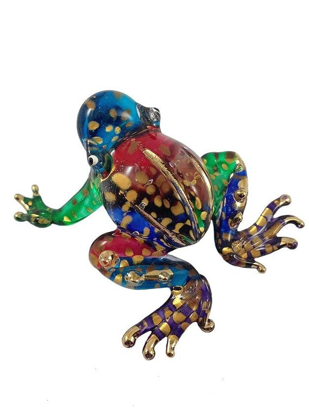 溶けた形唇ガラスの動物 カエル 手作り手吹きガラスの ガラス細工 ガラスの置物 ガラス ミニチュア 動物の置物 家の装飾 玩具動物園キッ - Miniature Dollhouse Animals frog figurines Glass Blown Toy Zoo Kid