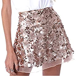 Gold Sequins Cocktail Mini Skirt