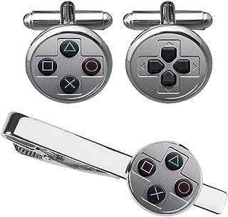 ZUNON Game Console Button Cufflinks & Tie Clip Groom Groomsmen Team Wedding Anniversary Party Gifts