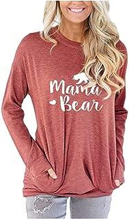 Women's Long Sleeve Crew Neck Mama Bear Elbow Patch T Shirt Top