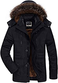 Men's Down Jacket Hooded Mid-Length Coat Cotton Coat Autumn And Winter Thick Warm And Comfortable,Black,XXL