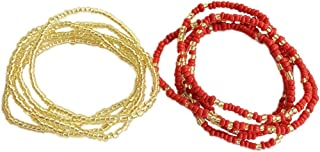 Fascigirl 2PCS Waist Chain Seed Beads Belly Chain Waist Body Jewelry Women Waist for Beach
