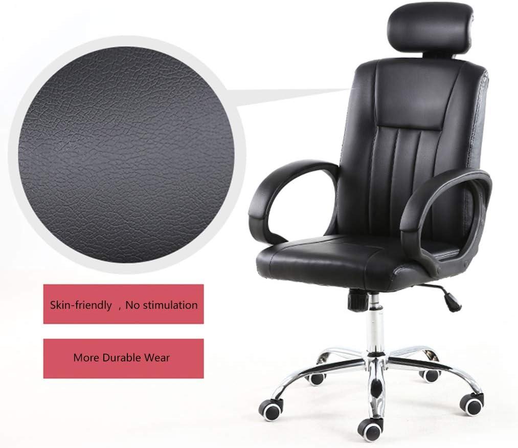 GAOPANG Chaise Ergonomique Siège de Bureau en Cuir pour Ordinateur de Bureau, Chaise de Tabouret pivotante, chaises de Jeu Ajustables à Dossier Haut, Design Ergonomique Black
