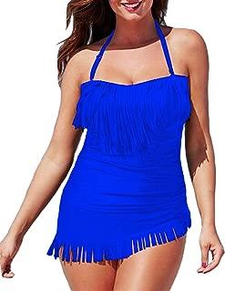 Eternatastic Women's Halter Top Tankini Fringe Swimwear Tassel Swimsuit