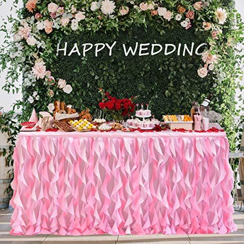 HBBMAGIC Tüll Tischdecke Handgefertigte Lockiger TAFT Tischrock Rosa Party deko Für Hochzeit, Geburtstag, Babyparty, Candy Bar