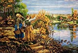 Set DIY cross stitch Tapestry embroidery set Woman by The River cross stitch embroidery set 35 x 50 cm with multifilament cotton thread [] Bordado con aguja 5D HD cod.035