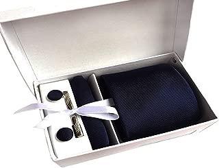 MENDENG Men's Dark Blue Pinstripe Necktie Tie Clip Pocket Square Cufflinks Set