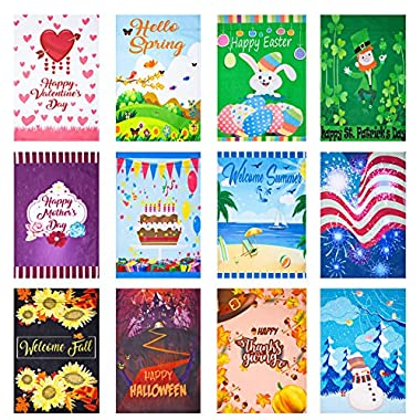 CANCLO Seasonal Garden Flag Set of 12 - Festive Flags for Lawn & Yard Decor - 12x18 Inch - Small Outdoor Flags - St Patricks Day, Spring, Easter, Mothers Day, Welcome Summer, Birthday, Holidays