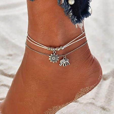 Ushiny - Cavigliera in argento con ciondolo a forma di elefante, per donne e ragazze