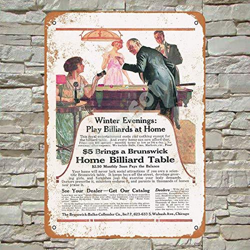 Henson 1917 Brunswick Billiards Traditional Vintage Tin Sign Logo 12 * 8 Advertising Eye-Catching Wall Decoration