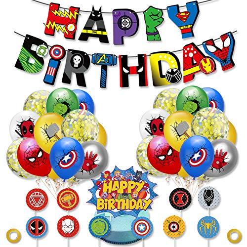 MEIRUIER superhéroe Feliz Cumpleaños del Pancarta, superhéroe Decoraciones Fiesta Cumpleaños,superhéroe Decoración para cumpleaños Fiesta
