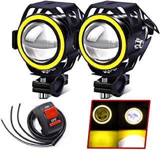Motorcycle SpotLights, Halo Ring Motorbike lamp U7 LED Driving Light DRL Auxiliary Lights Yellow + Switch