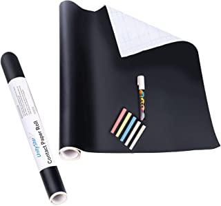 DMZK Vinilo Pizarra Negra, Vinilo Lámina de Pizarra, Pizarra Adhesiva de Papel Adherente, 45 x 200 cm, Color Negro