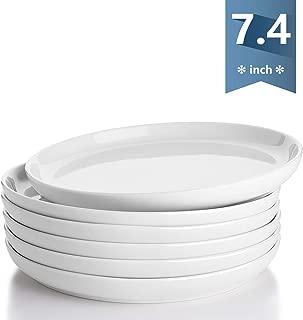Sweese 155.001 Porcelain Round Dessert Salad Plates - 7.4 Inch - Set of 6, White