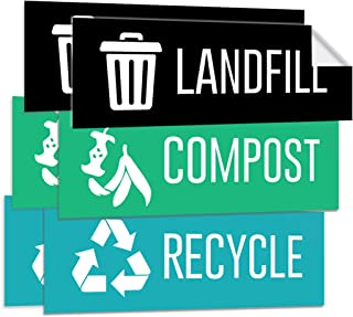 Pixelverse Design - Landfill Recycle Compost Stickers - Premium UV Outdoor & Indoor Adhesive Weatherproof Trash Can Vinyl - 3x9 Inches - 6 Pack Set