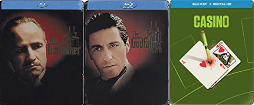 Classic Italian American Mobster Steelbook Mega Set: The Godfather & The Godfather Part Two & Casino (3- Steelbook Blu-ray Bundle)