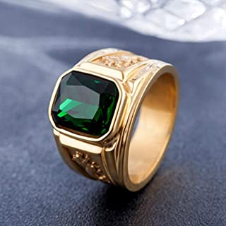 Rings Retro Square Gemstone Carved Dragon Totem Signet Titanium Steel Ring for Men, US Size: 8, Diameter: 18.2mm, Perimeter: 57mm(Black) Rings (Color : Green)