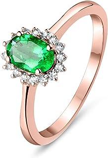 ButiRest - Anello in oro 18 K, con fiore 18 carati 750, con 4 denti ovali, 0,5 ct, verde smeraldo VS e diamante 0,11 ct