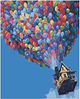 Colorful Balloons Paint by Numbers for Adults Flying Travel Balloons House Up DIY Painting by Numbers for Home Wall Decor,16